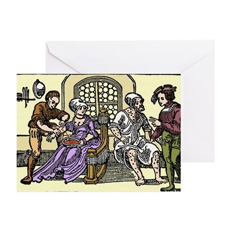 16th century barber shop - Greeting Cards (Pk of 2