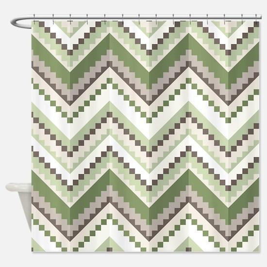 Green Native Pattern Shower Curtain