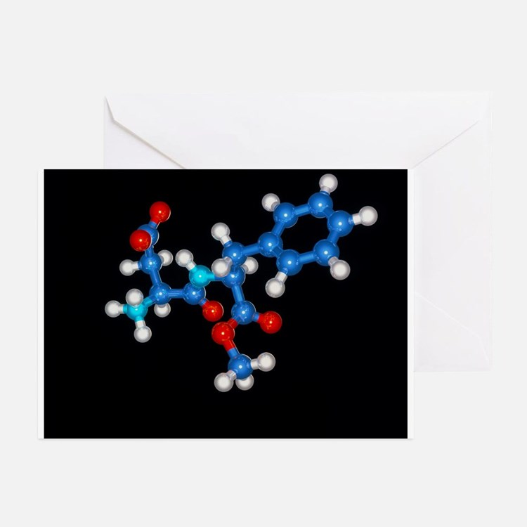 Molecule of Aspartame sweetener - Greeting Cards (