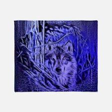 Night Warrior Wolf Throw Blanket