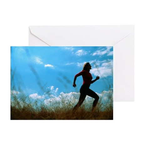 Woman jogging - Greeting Cards (Pk of 20)