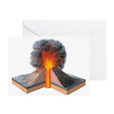 Erupting cinder cone, artwork - Greeting Cards (Pk