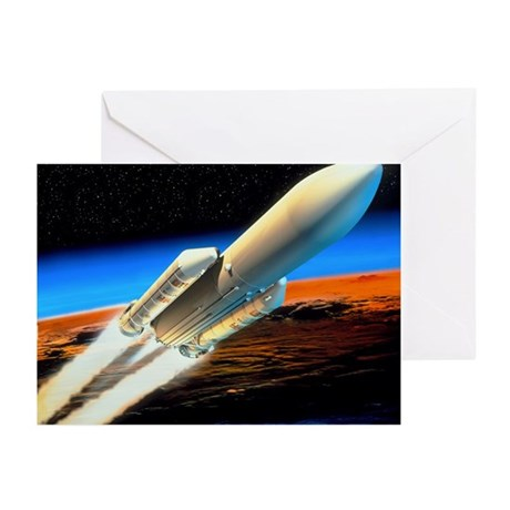 Art of launch of Ariane 5 rocket - Greeting Cards