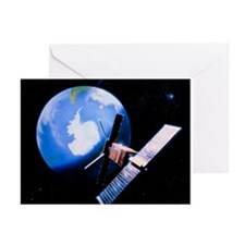 ERS-1 satellite in orbit over earth - Greeting Car