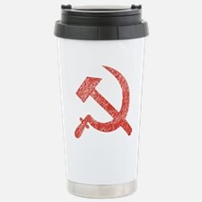 Hammer and Sickle Red Splatter Travel Mug