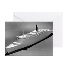 Model of the QE2 ocean liner, 1964 - Greeting Card
