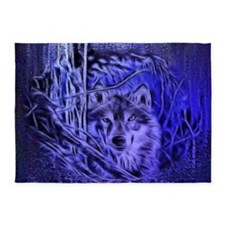 Night Warrior Wolf 5'x7'Area Rug