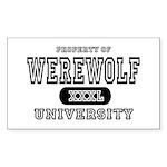 Werewolf University Property Rectangle Sticker