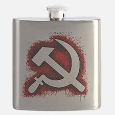 Hammer and Sickle Black Splatter Red Outline Flask