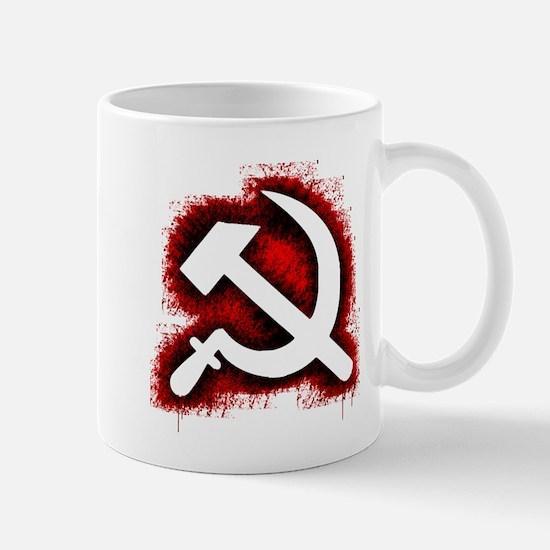 Hammer and Sickle Black Splatter Red Outline Mug