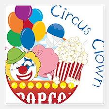 """Circus Clown Square Car Magnet 3"""" x 3"""""""