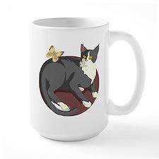 Gray Cat Watching Butterfly Mug