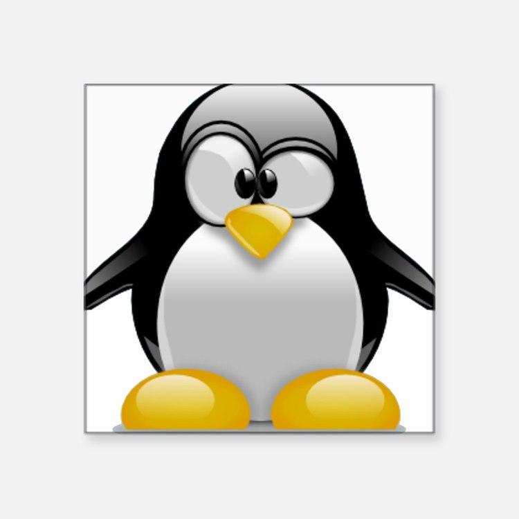 """Tux the Penguin Square Sticker 3"""" x 3"""""""