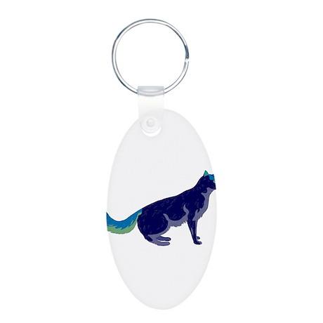 Multi-Color Rainbow Cat Aluminum Oval Keychain