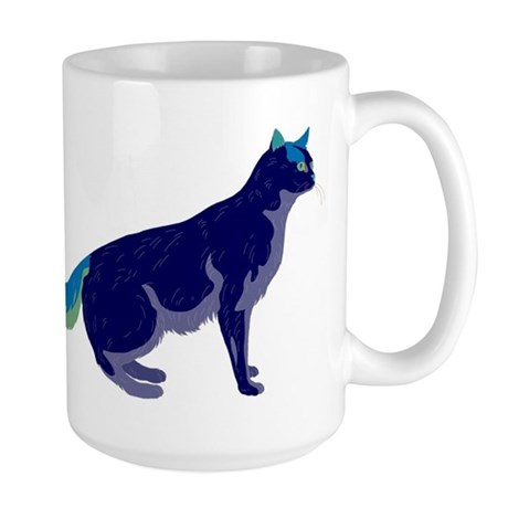 Multi-Color Rainbow Cat Large Mug
