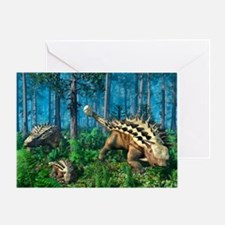 Ankylosaur family, artwork - Greeting Card