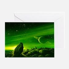 Alien ringed planet, artwork - Greeting Card
