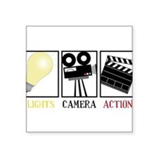 "Lights Camera Action Square Sticker 3"" x 3"""