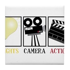 Lights Camera Action Tile Coaster