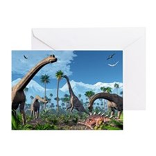 Brachiosaurus dinosaurs, artwork - Greeting Card