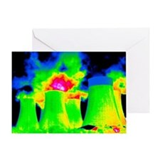 Cooling towers, thermogram - Greeting Card