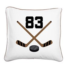 Hockey Player Number 83 Square Canvas Pillow