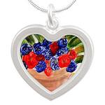 Flowers in Pot Silver Heart Necklace