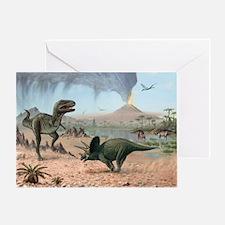Late Cretaceous life, artwork - Greeting Card