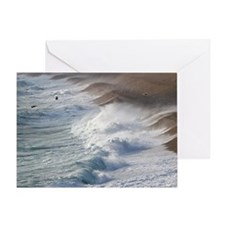 Storm waves at Chesil Beach - Greeting Card
