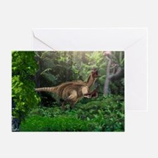 Utahraptor dinosaur, artwork - Greeting Card
