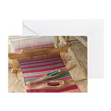 Various threads on weaving loom - Greeting Card