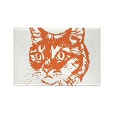 Orange Kitty Cat Head Rectangle Magnet
