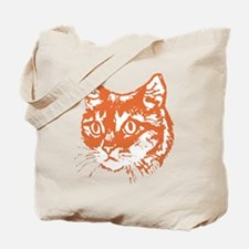 Orange Kitty Cat Head Tote Bag
