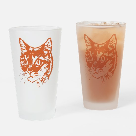 Orange Kitty Cat Head Drinking Glass