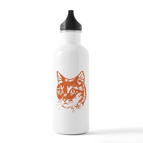 Orange Kitty Cat Head Stainless Water Bottle 1.0L