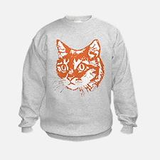 Orange Kitty Cat Head Sweatshirt