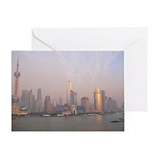 Air pollution over Shanghai, China - Greeting Card