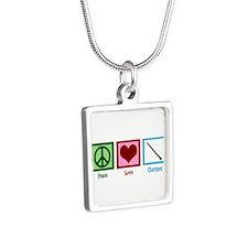 Peace Love Clarinet Silver Square Necklace