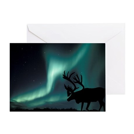 Aurora borealis and caribou - Greeting Card