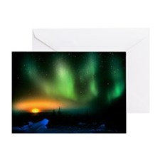 Aurora borealis display with setting Moon - Greeti