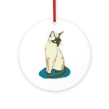 Siamese Cat on Blue Ornament (Round)