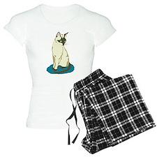 Siamese Cat on Blue Pajamas