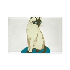 Siamese Cat on Blue Rectangle Magnet