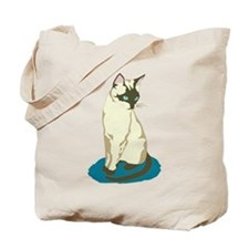 Siamese Cat on Blue Tote Bag
