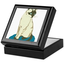 Siamese Cat on Blue Keepsake Box