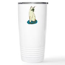 Siamese Cat on Blue Travel Mug