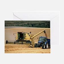 Combine harvester off-loading grain - Greeting Car