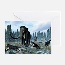 Dire wolves and mammoths, artwork - Greeting Card