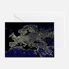 Europe at night, satellite image - Greeting Card