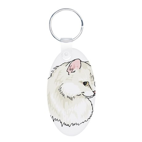 White Kitty Cat Face Aluminum Oval Keychain